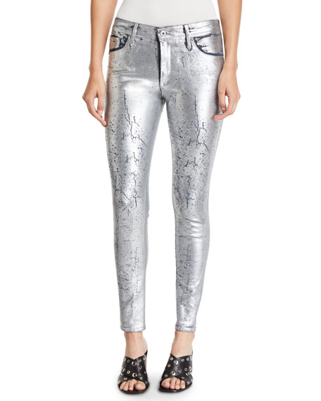 AG Adriano Goldschmied Farrah Metallic High-Rise Skinny Jeans