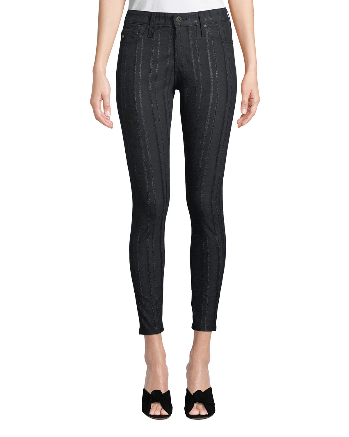eb3a72547d63 AG Adriano GoldschmiedFarrah High-Rise Skinny Ankle Jeans with Metallic  Stripes