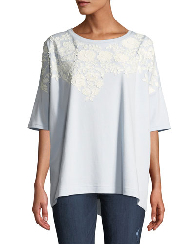 Relaxed Big Tee with Beaded Floral Applique  Petite
