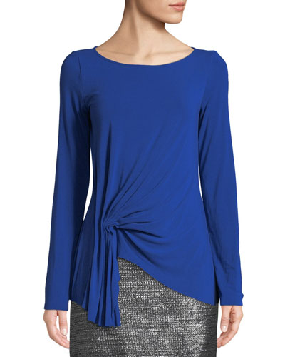 Fall For You Gathered Long-Sleeve Jersey Top