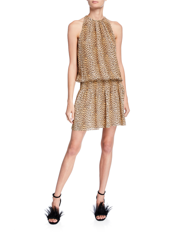 cf78dc906472bf Ramy Brook Paris Leopard-Print Silk Sleeveless Short Dress