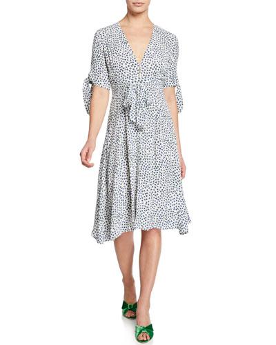 Nina Floral V-Neck Short-Sleeve Dress