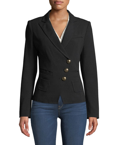 Tailored Double-Breasted Wrap Blazer