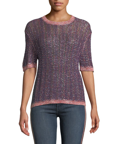 Zabella Metallic Knit Crewneck Top