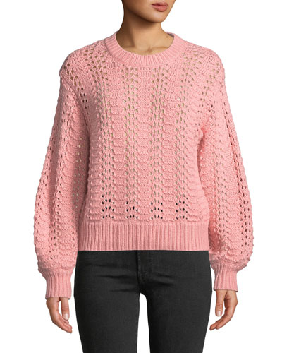 Cersei Eyelet-Knit Crewneck Sweater