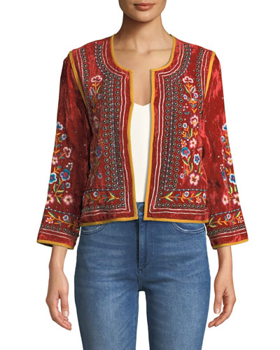 Nita Embroidered Velvet Cropped Jacket