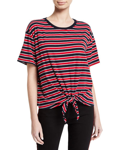 Scarla Striped Tie-Front Short-Sleeve Tee