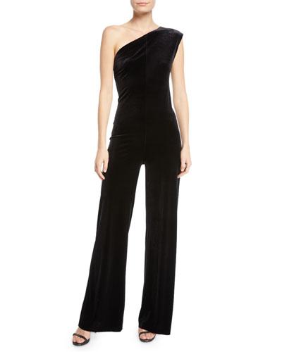 One-Shoulder Velvet Jumpsuit