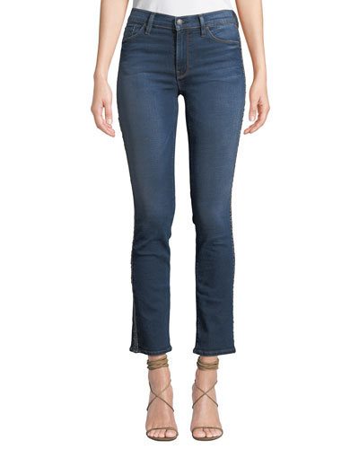 Nico Mid-Rise Cigarette Jeans with Metallic Stripes