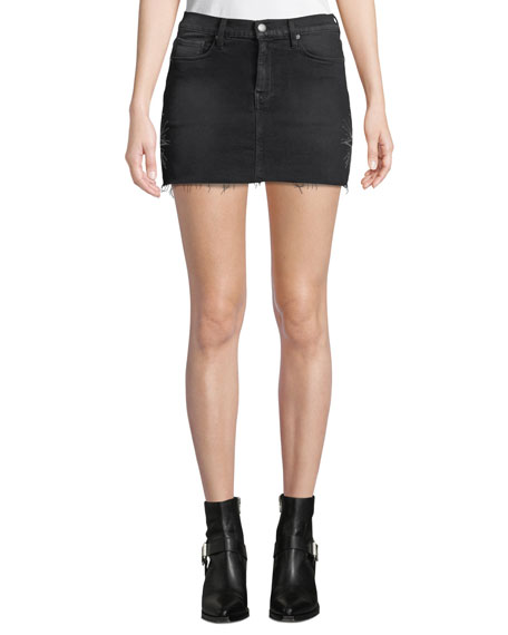 Hudson THE VIPER DENIM MINI SKIRT WITH EMBROIDERY