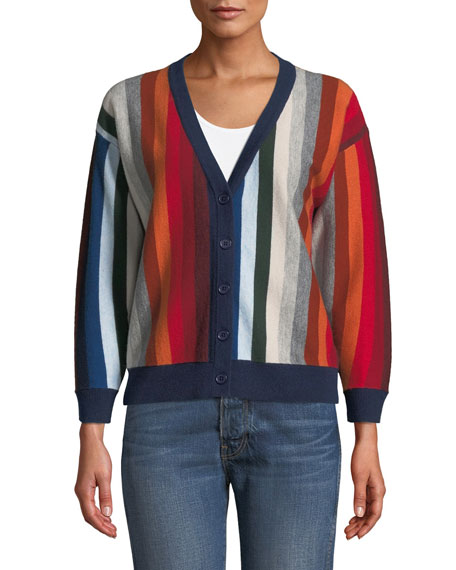 The Co-Ed Striped Wool-Blend Cardigan