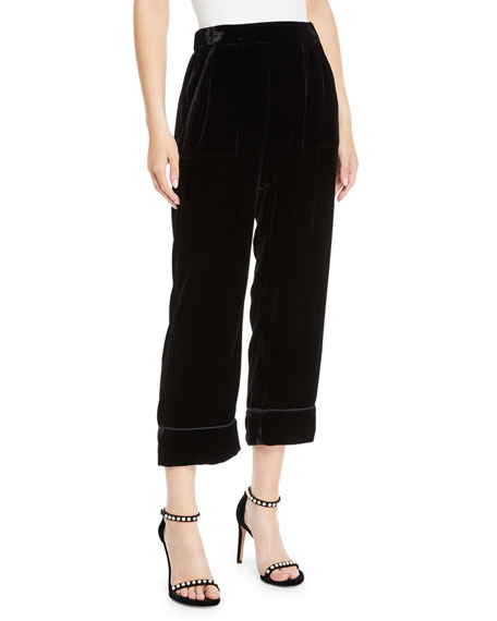 The Great Silks THE VELVET PAJAMA CROPPED TROUSERS