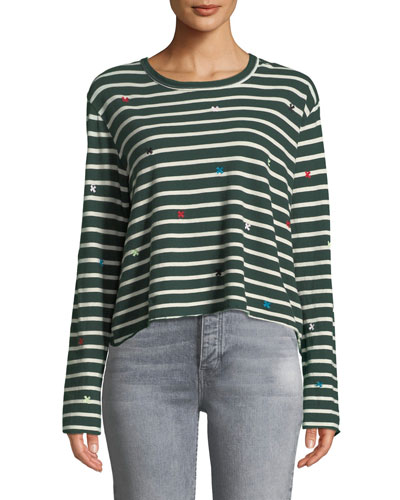 The Long-Sleeve Crop Tee with Embroidery