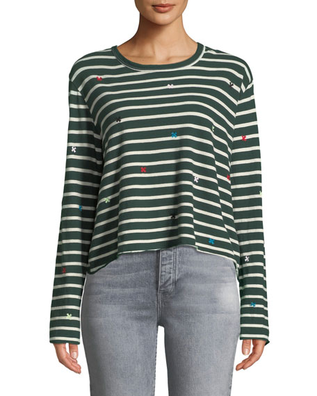 The Great Cottons THE LONG-SLEEVE CROP TEE WITH EMBROIDERY