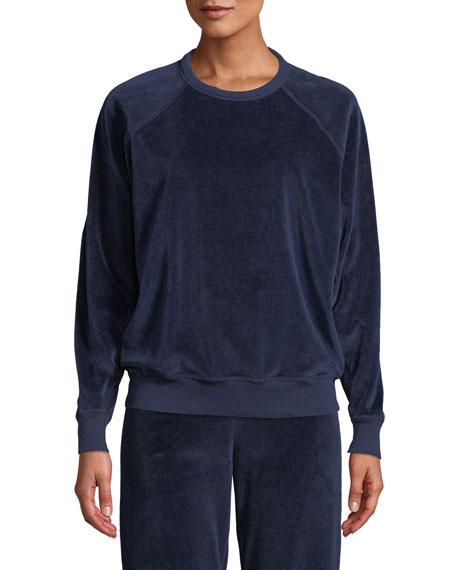 THE GREAT The Velour College Sweatshirt in Navy