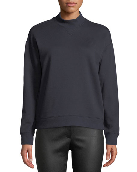 Derek Lam 10 Crosby Mock-Neck Cotton Pullover Sweatshirt