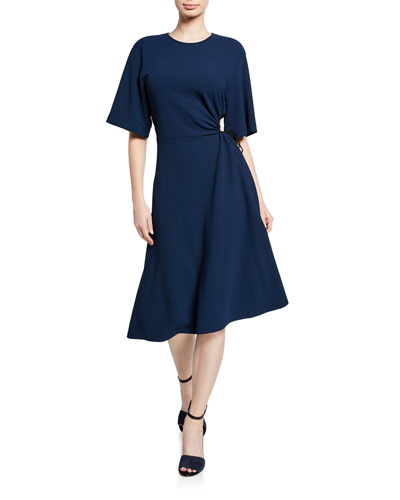 Crewneck Elbow-Sleeve Side-Cutout A-Line Dress