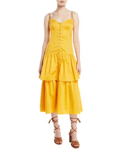 Tiered Cotton Midi Dress