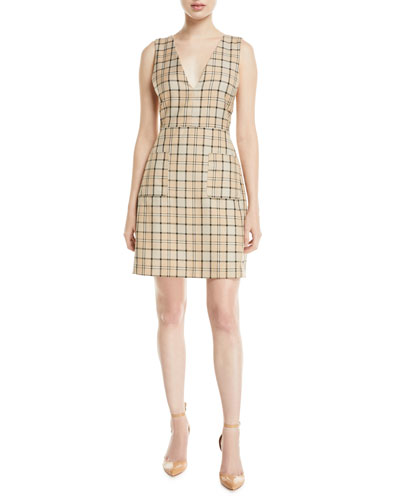 Plunge-Back Tattersall Dress with Pockets