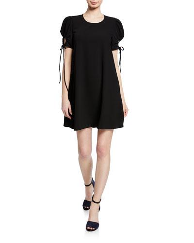 Crewneck Puff-Sleeve Mini Dress