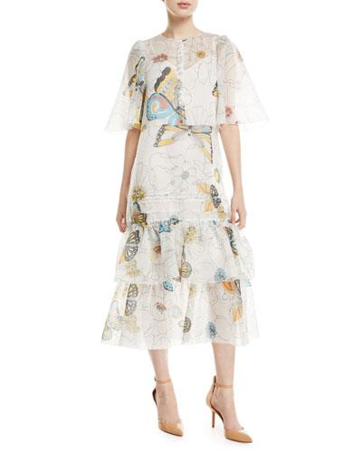 Long Butterfly-Print Cape-Effect Dress