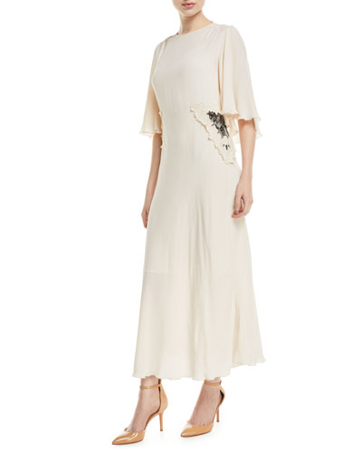 Long Flutter-Sleeve Dress with Applied Lace