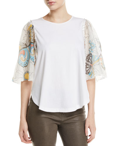 Butterfly-Sleeve Cotton Top