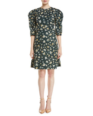 2dedd9238bbbe See by Chloe Puff-Sleeve Floral-Print Cotton Dress