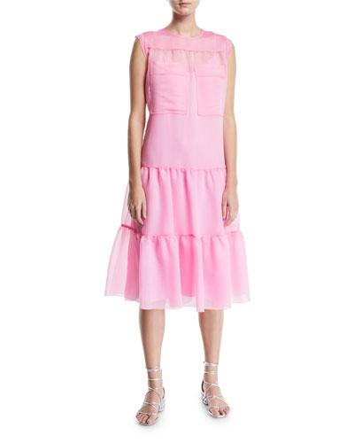 Tiered Midi Dress with Utility Pockets