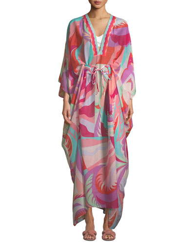 Printed V-Neck Long Kaftan with Belt