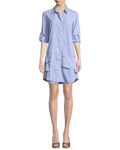 Jenna Collared Long-Sleeve Ralph Striped Shirtdress