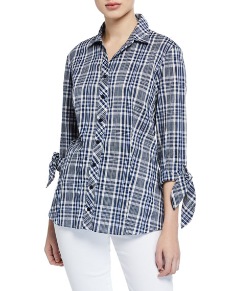 FINLEY Jackie Button-Front Tie-Sleeve Peaks Island Plaid Blouse in Multi