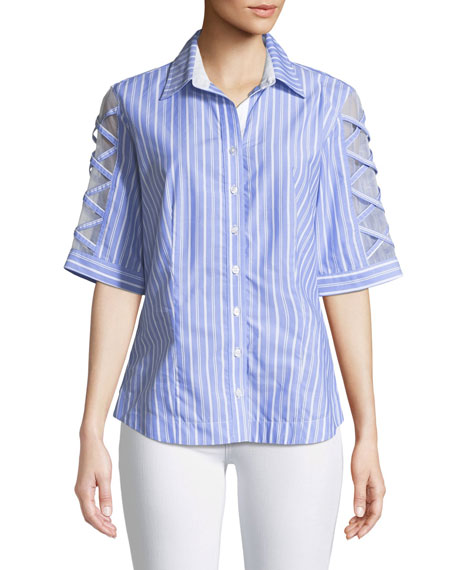 Finley SUGAR SWEET BLUE SOMETHINGS STRIPED BLOUSE