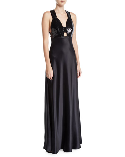 Sequined & Satin Combo Gown