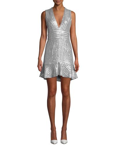 Stretch Sequin Mini Sleeveless Dress