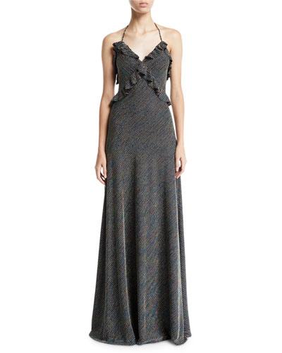 Sleeveless Metallic Striped Knit Ruffle-Trim Gown