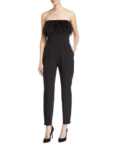 Straight-Leg Strapless Jumpsuit with Feather Trim