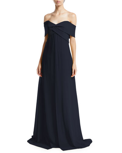 Park Lane Off-the-Shoulder A-Line Taffeta Gown