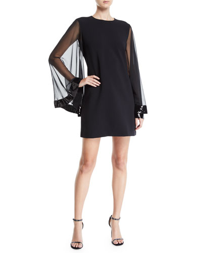 Kylie Draped-Sleeve Cocktail Dress w/ Sequin Trim