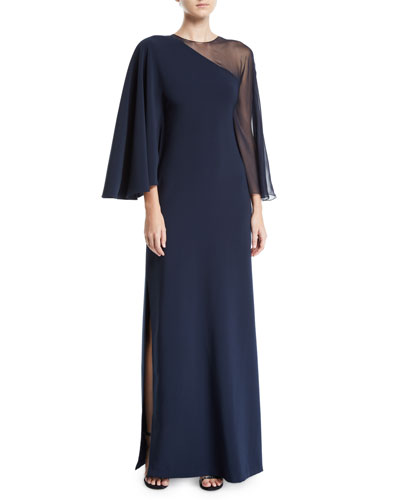 Pecora 1-Shoulder Illusion Gown