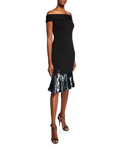 Falisia Sequin-Hem Off-the-Shoulder Knit Dress