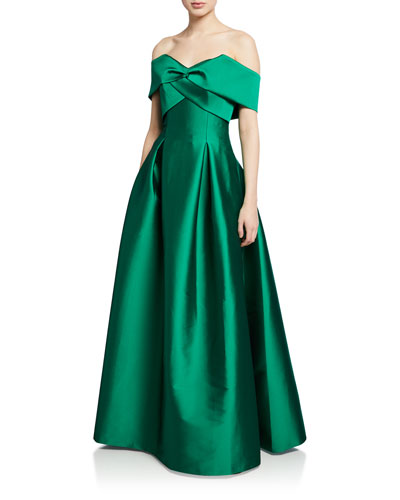 Virabella Off-the-Shoulder Short-Sleeve Taffeta Ball Gown