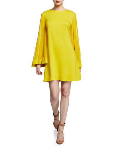 Goldie Jewel-Neck Long-Sleeve Cocktail Dress