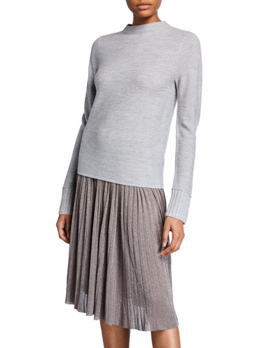 Tommie Mock-Neck Wool Pullover Sweater