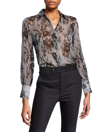 Margee Silk Button-Front Top