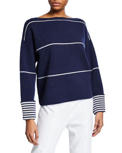 Esquinah Striped Cashmere Boat-Neck Sweater