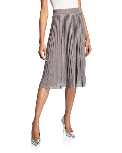 Tilli Pleated Metallic Pull-On Skirt