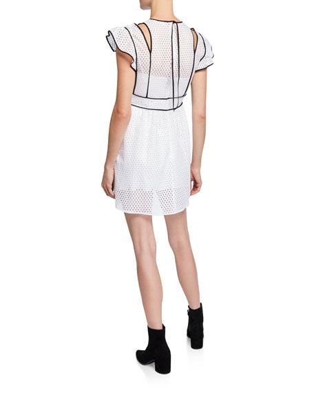 REDValentino Short-Sleeve Tie-Shoulder Mini Mesh Dress