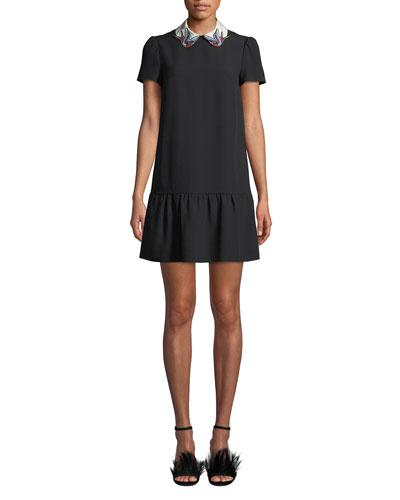 Short-Sleeve Crepe de Chine Drop-Waist Dress w/ Bird Collar