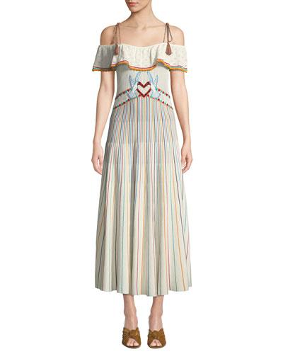 Long Off-the-Shoulder Multicolor Striped Yarn Dress